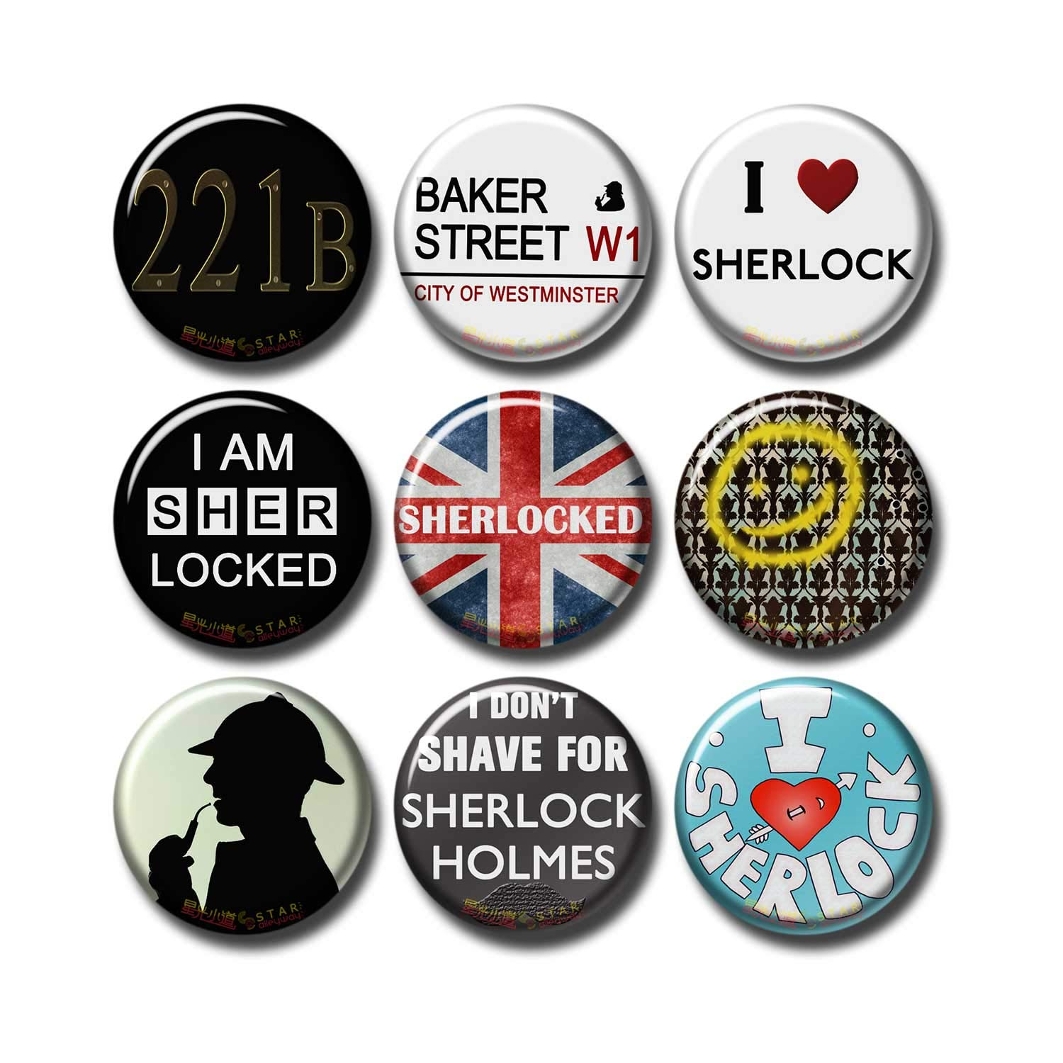 Sherlock BBC 9 pcs Button Fridge Magnets Set Pack TV Series 010-P006 Sherlock Holmes Logos I heart Sherlock,Party Favors Supplies Gifts Home Decor (Round 1.5 inch|3.7cm)