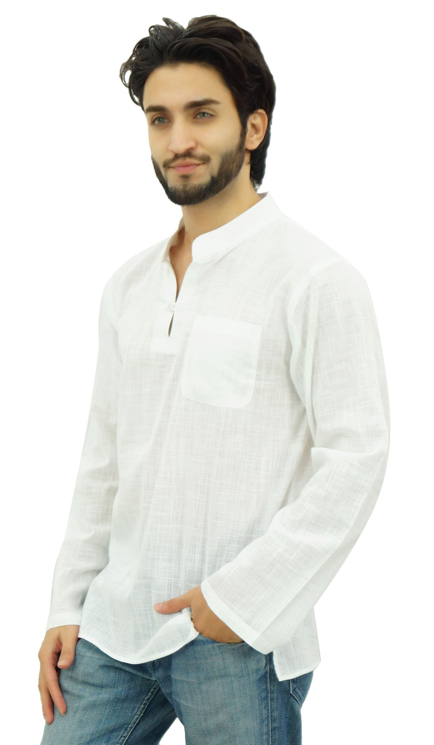 Atasi Men's Band Collar Short Kurta White Cotton Casual Tunic Shirt-Large by Atasi (Image #3)