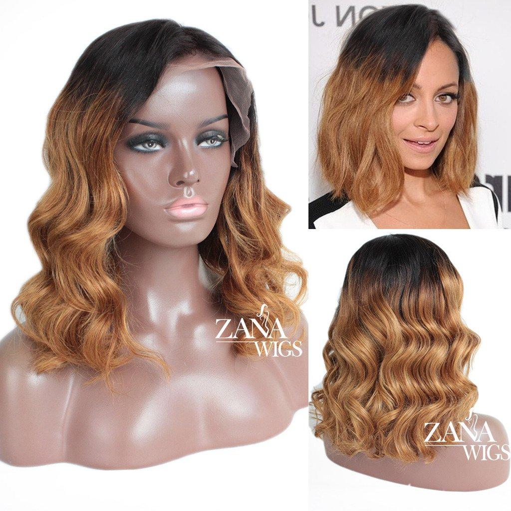 ZANA Brazilian Lace Front Wigs Glueless Ombre Human Hair Short Bob Wigs for  Black Women Bleached Knots