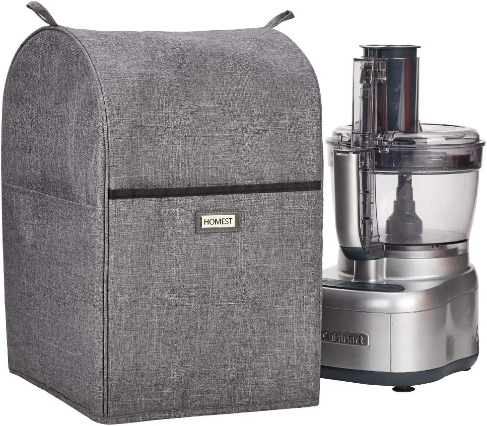 HOMEST Food Processor Dust Cover with Accessory Pockets Compatible with Cuisinart, Hamilton Beach 11-14 Cup, Grey (Patent Pending)