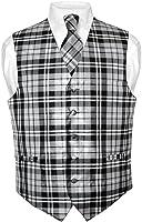 Men's Plaid Design Dress Vest & NeckTie Black Gray White Neck Tie Set
