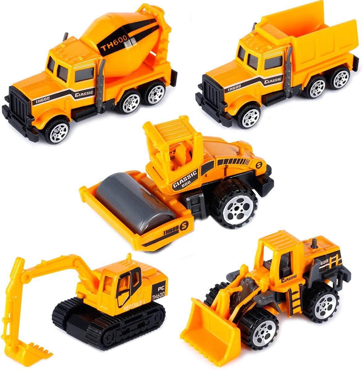 Dreamon Camiones de Construcción Mini Coches Escala 1:64 Juguetes de Colección para Años (Pack de 5)