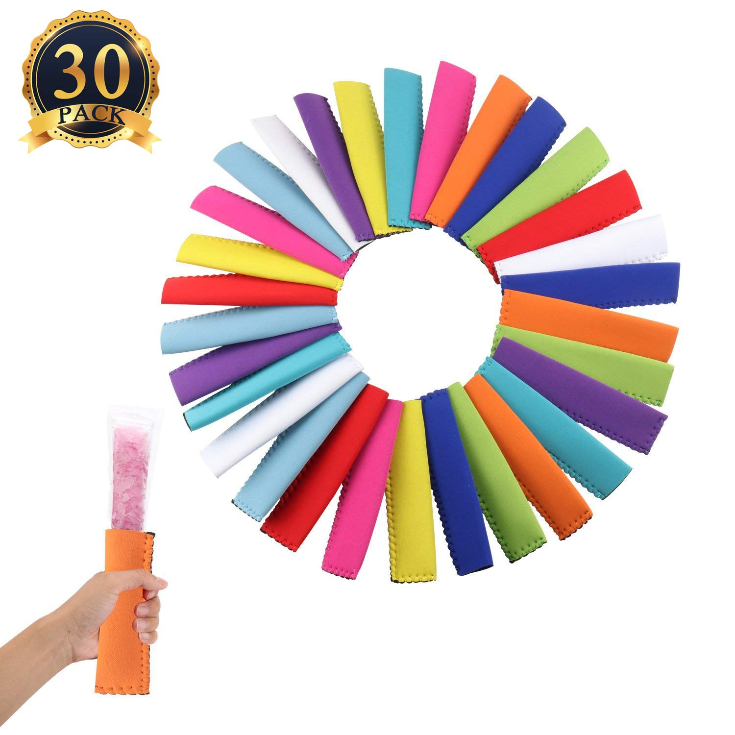 ''30 Pack Reusable Popsicle Bags Popsicle Holders Freezer Ice Pop Antifreezing Sleeves - DIY Ice Pop, Otter Pop, Frozen Yogurt, Cocktail Treat''