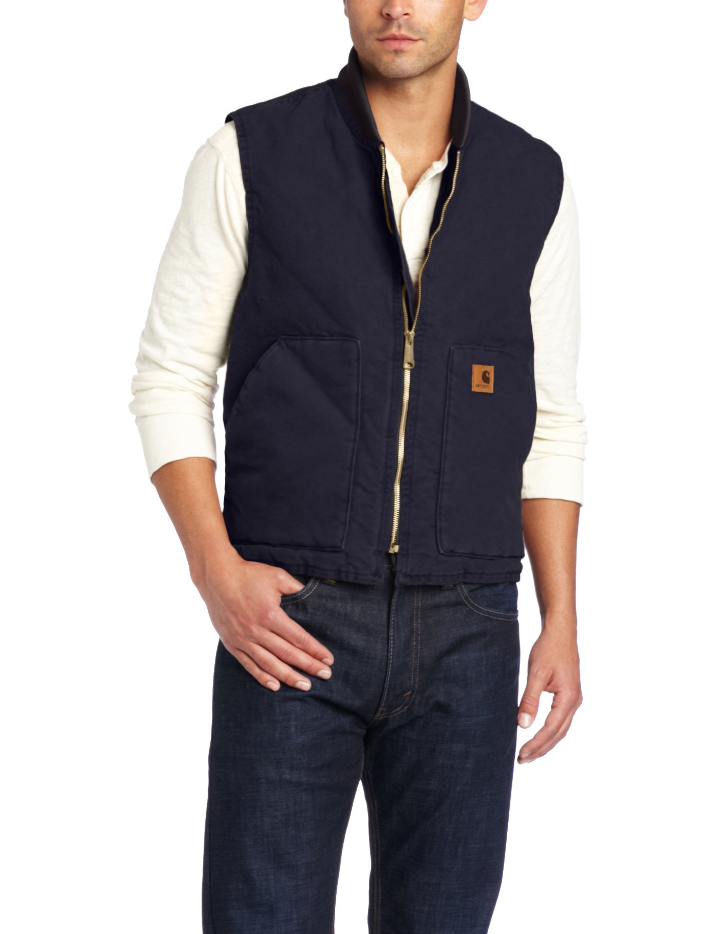 Carhartt Men's Sandstone Vest Arctic Quilt Lined,Midnight,Large