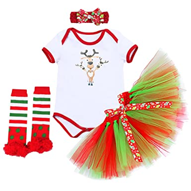 d00d6de66a4 Newborn Baby Girls First Christmas Costume Outfits Xmas Party Santa Deer Romper  Jumpsuit Tutu Skirt Leg