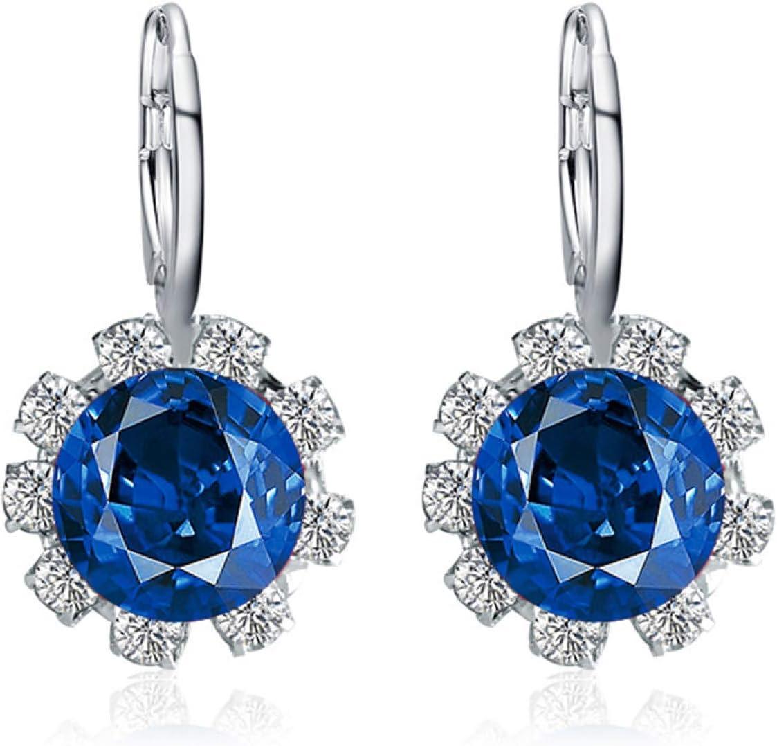 Pendientes redondos, para mujer con forma redonda y elegante de flor de imitación de cristal de circonita cúbica de regalo - azul real