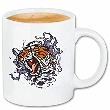 Taza párrafo café gato gatos MAGNIFICA gato grande del TIGRE LEOPARD KING TIGER del tigre siberiano ENFRENTAN PANTHERA cerámica Altura 9.5 cm de diámetro de ...