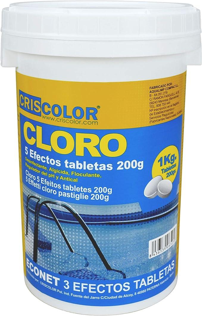 CRISCOLOR Cloro para Piscina EN Pastillas - 5 ACCIONES (1 Kg): Amazon.es: Jardín