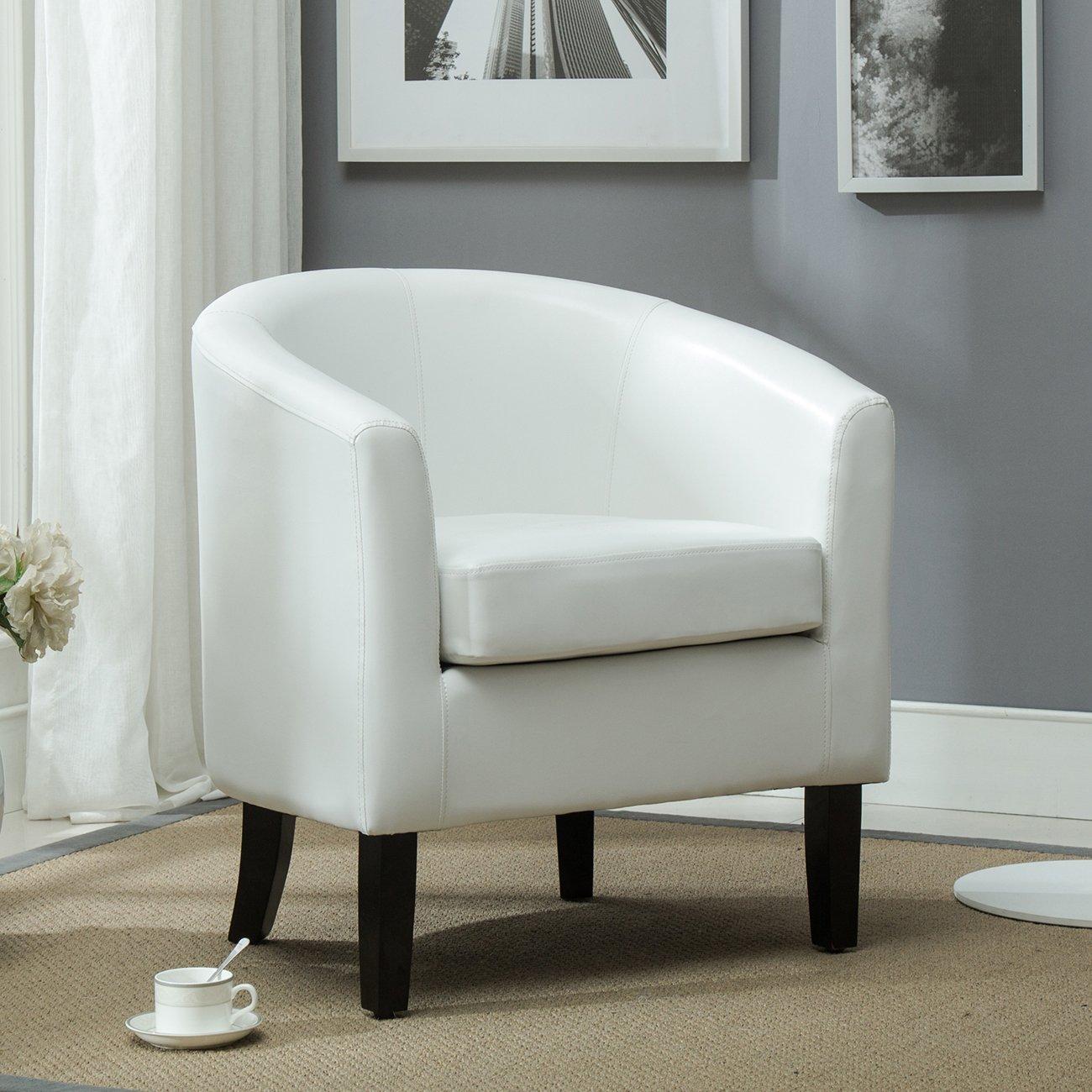 Amazon.com: Belleze Club Chair Tub Faux Leather Armchair Seat Accent ...
