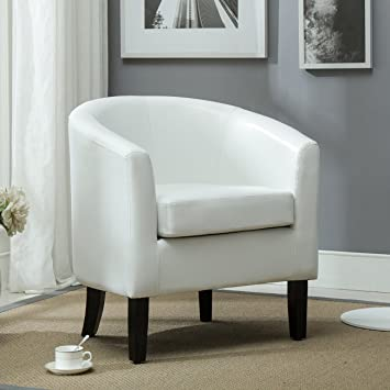 Belleze Club Chair Tub Faux Leather Armchair Seat Accent Living Room, White Part 53