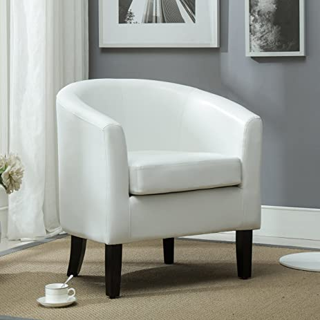 Amazon.com: Belleze Club Chair Tub Faux Leather Armchair Seat ...