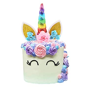 Handmade Rainbow Unicorn Birthday Cake Toppers Set Horn Ears And Flowers