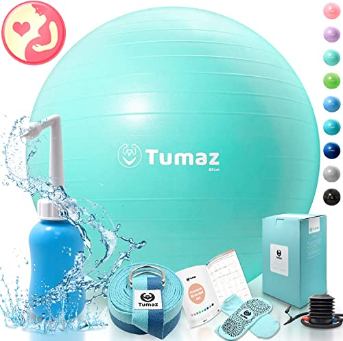Tumaz Birth Ball Including Birthing Ball Peri Bottle Yoga Strap Non-Slip Sock
