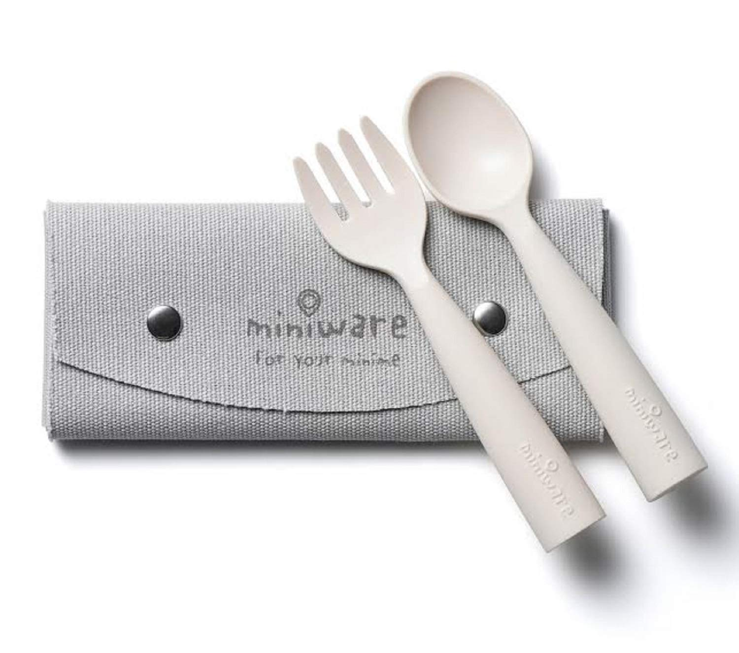 Miniware My First Cutlery Set with Training Spoon, Fork, and Carry Case for Baby Toddler Kids – Promotes Self Feeding | Eco-Friendly Utensils | Modern and Durable Design | Dishwasher Safe