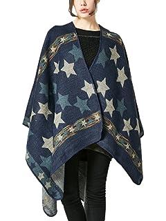 Cape Poncho Femme Foulard Couverture Chaude Vintage Rétro Châle Ouverture  Grande… cdc9359f0e7