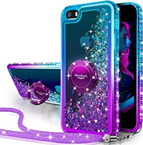 iPhone SE 2016 Case, iPhone 5S/5 Case, Silverback Moving Liquid Holographic Sparkle Glitter Case with Kickstand,Bling Diamond Bumper with Ring Protective Apple iPhone SE Case for Girls Women -Purple