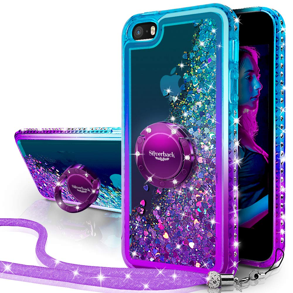 Silverback iPhone SE Case, iPhone 5S/5 Case, Moving Liquid Holographic Sparkle Glitter Case with Kickstand,Bling Diamond Bumper with Ring Protective Apple iPhone SE Case for Girls Women -Purple