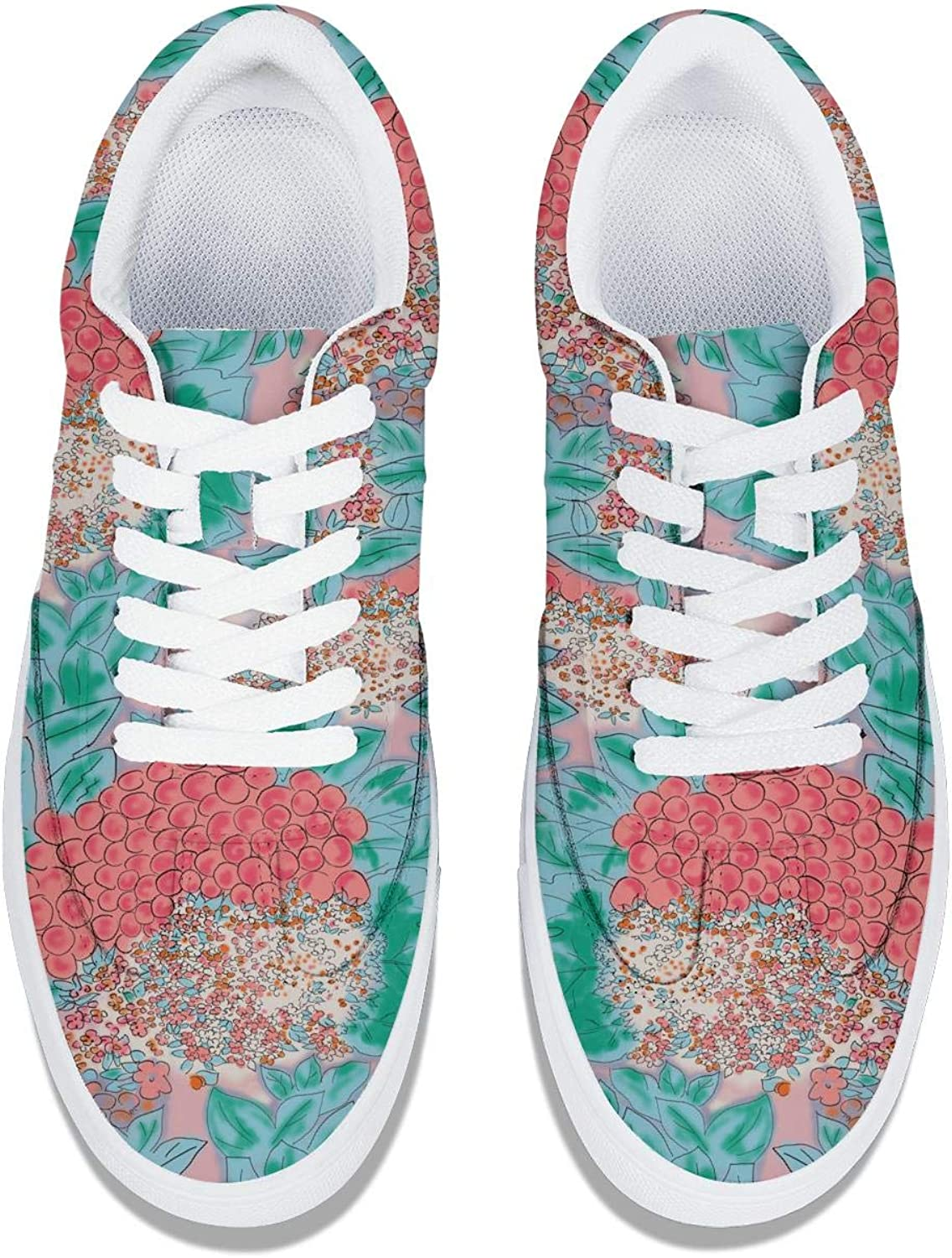 Vintage Floral Pattern Women Lace-Up Leather Sneaker Cute Low Top Comfortable Work Shoes