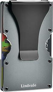 Lindenle Womens Minimalist Slim Wallet RFID Blocking Aluminum Card Holder Money Clip (Gunmetal)