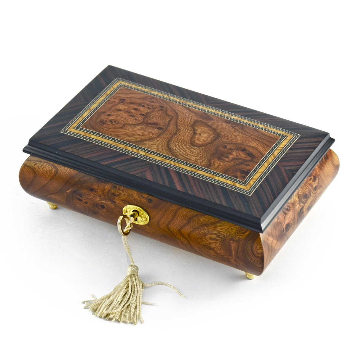 Classic Style 18 Note Italian Music Jewelry Box with Lock and Key - Rock of Ages - Christian Version by MusicBoxAttic