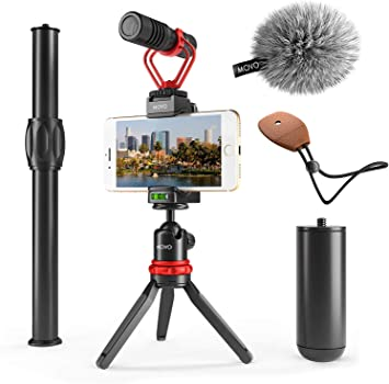 Grip Handle 8 7 and Lightning Dongle Compatible with iPhone 11 6S 5 and Android X XR XS YouTube 5S 6 11 Pro Movo Smartphone Video Rig with Shotgun Microphone for Vlogging Wrist Strap