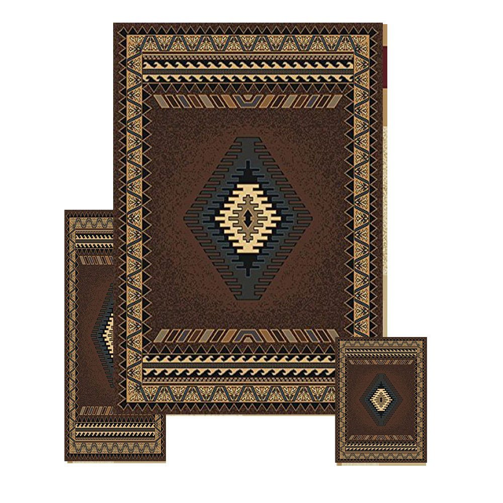 Southwestern Contemporary Geometric Area Rug 3 Pieces Set