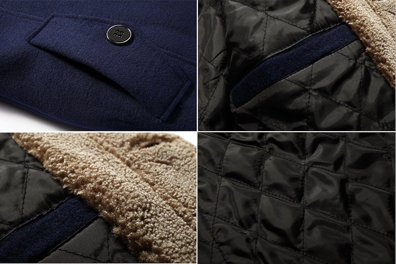 Jinmen Mens Winter Thick Warm Hooded Woolen Coat Faux Fur Lined
