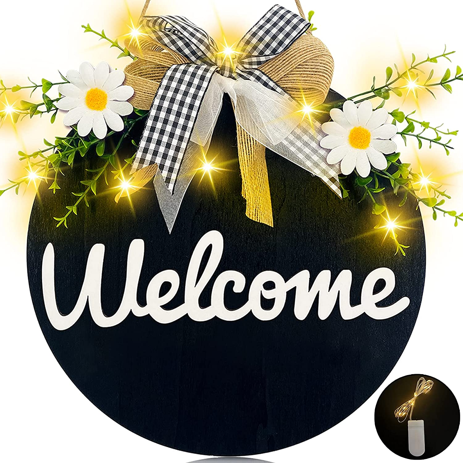TURNMEON Lighted Welcome Wreath Sign with Lights Front Door Porch Decor,Rustic Round Wooden Hanging Hello Sign Daisy Eucalyptus Outdoor Home Wall Farmhouse Porch Summer Decor Housewarming Gift (Black)