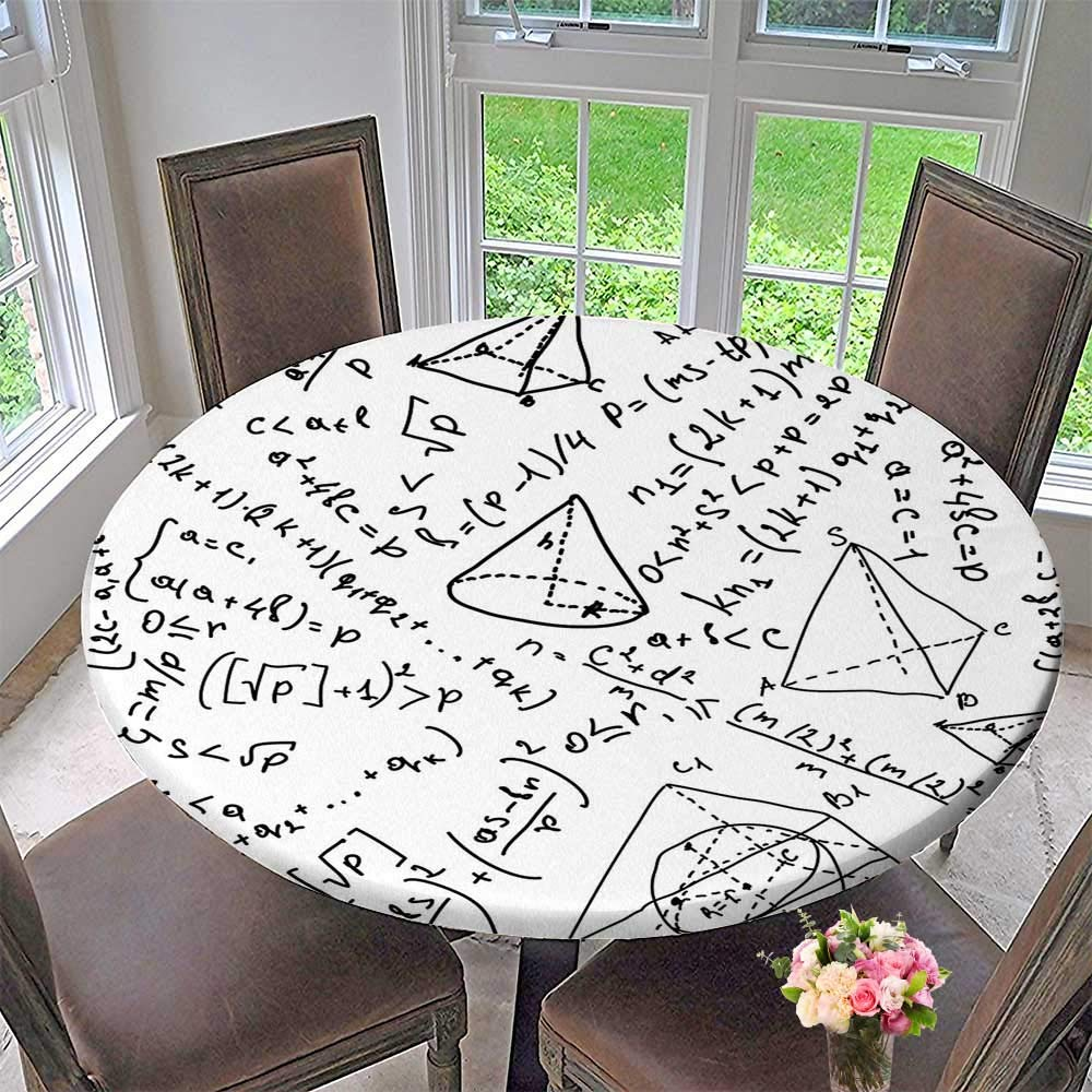 Round Premium Tablecloth Mix Math Numbers Circle Triangle Angle Genius School Science Sketch Design Black White Stain Resistant 47.5''-50'' Round (Elastic Edge)