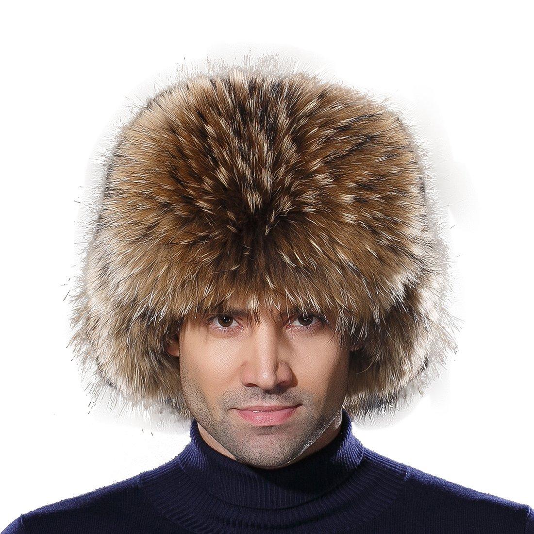 URSFUR Winter Mens Trapper Hat Real Leather and Raccoon Fur Russian Ushanka Cap
