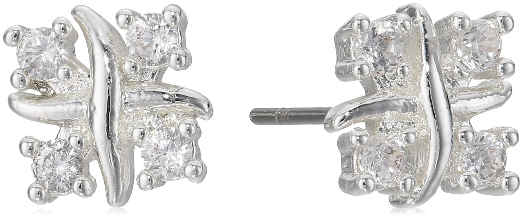 Napier Silver-Tone and Cubic Zirconia Stud Earrings