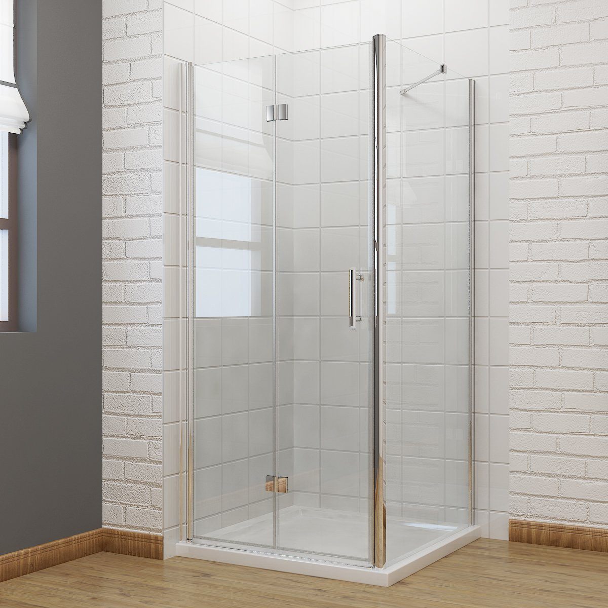 900 x 700 mm Bifold Shower Enclosure Glass Shower Door Reversible ...