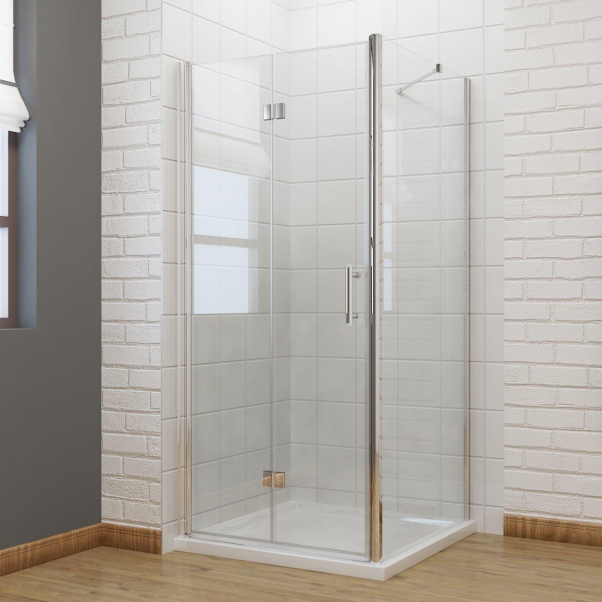 900 x 800 mm Bifold Shower Enclosure Glass Shower Door Reversible ...