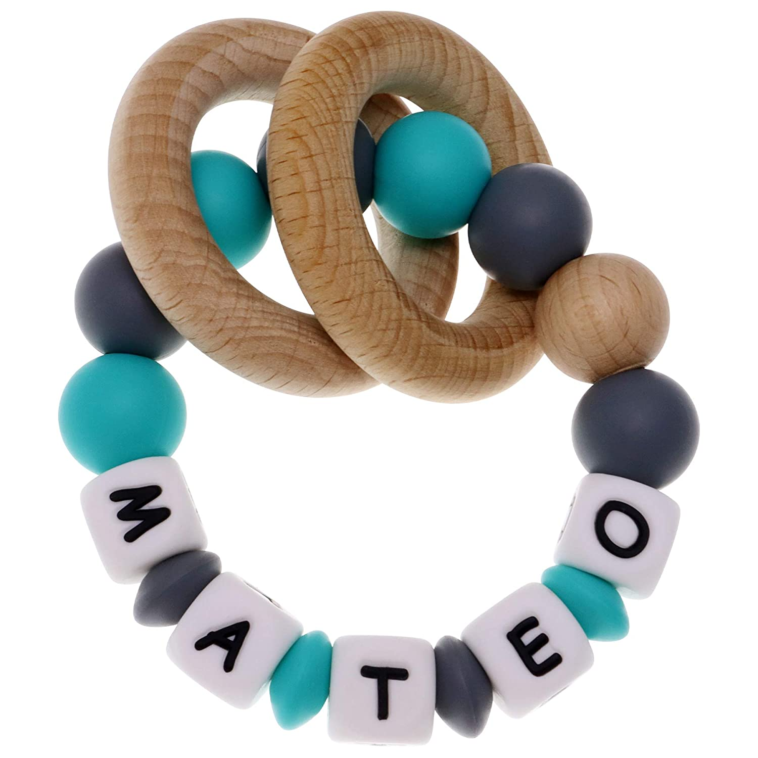 Munchewy Personalized Name Baby Rattle Teether Ring, Customizable Food Grade Silicone Sensory Chew Bracelet with Natural Organic Beech Wood Teething Rings for Baby Boys Girls   Baby Teether Toys(Grey)