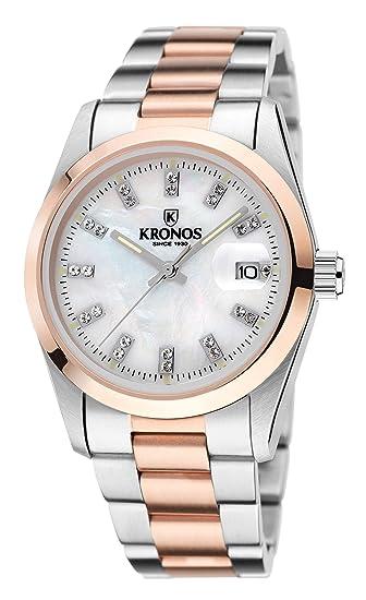 Kronos - Elegance Bicolor Rose Zirconia 968.8.34ZR - Reloj de señora de Cuarzo,