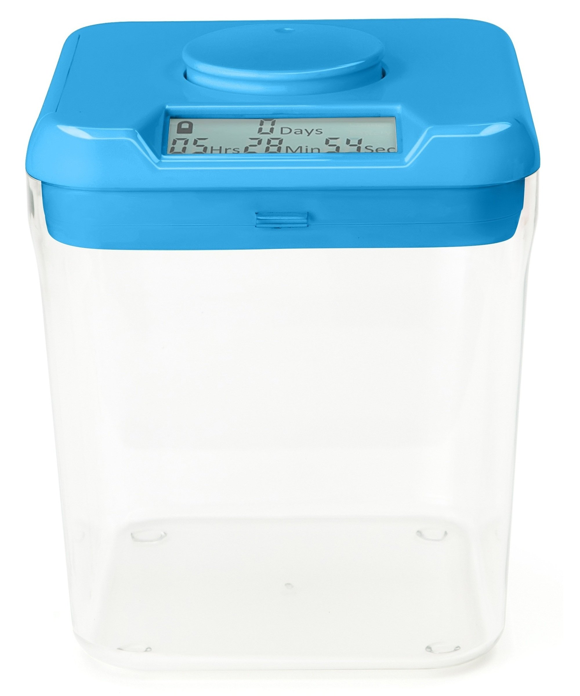 """Kitchen Safe: Time Locking Container (Blue Lid + Clear Base) - 5.5"""" Height - AS SEEN ON SHARK TANK"""