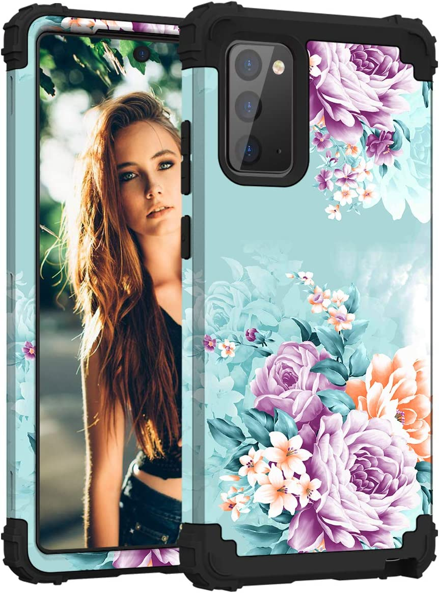 PIXIU for Samsung Galaxy Note 20 Case, Heavy Duty 3 Layer Shockproof Full-Body Protective hybird Case for Galaxy Note 20 2020 Released Peonies Flower