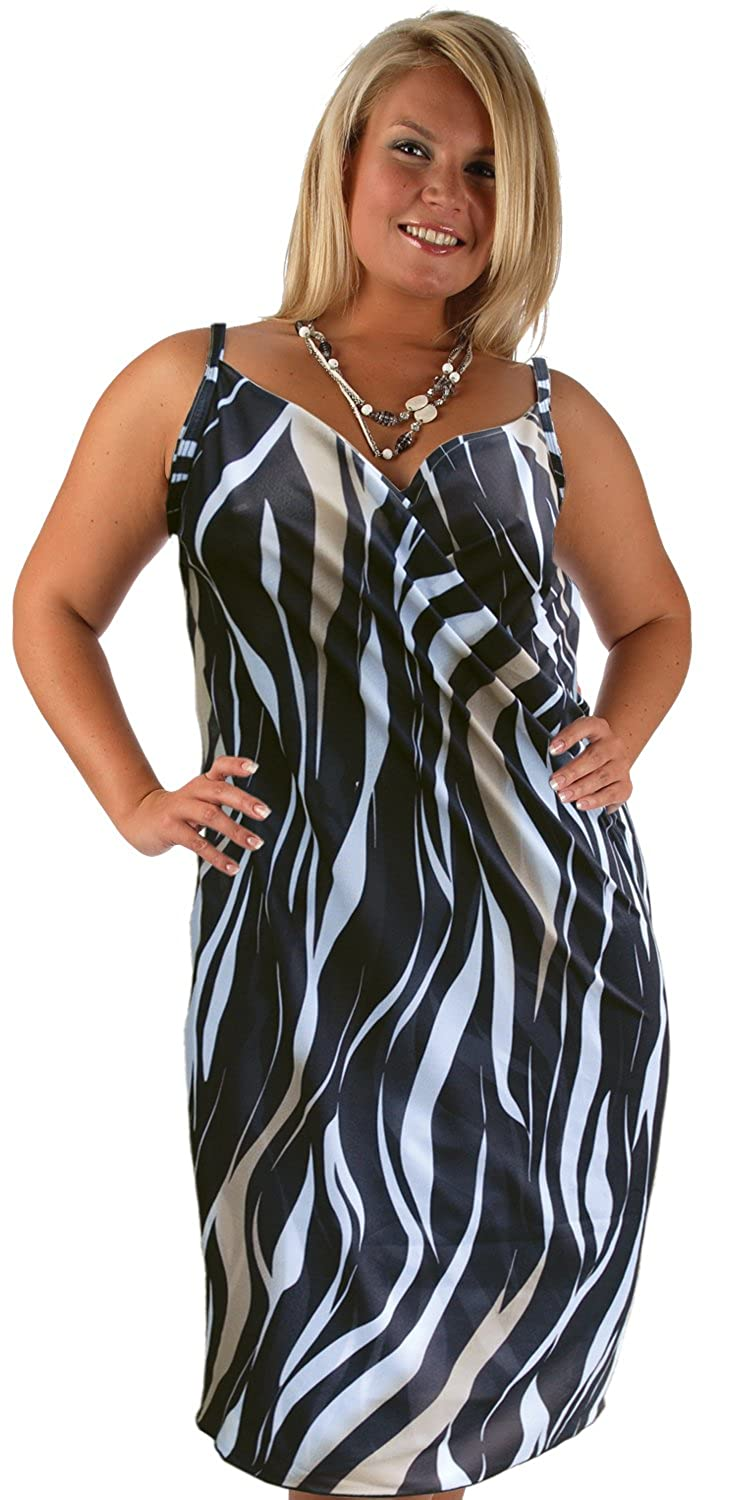 77a5d187e3 Malibu Saress Beach Dress - Cover Up Sarong Dress Top (XX Large Size 20,  Black, White and Fawn): Amazon.co.uk: Clothing