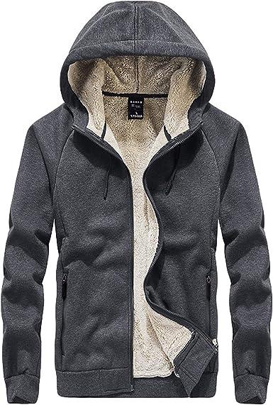 Mens Thick Warm Waterproof Hoodie Zip Up Winter Coat Jacket Sweatshirt Tops UK