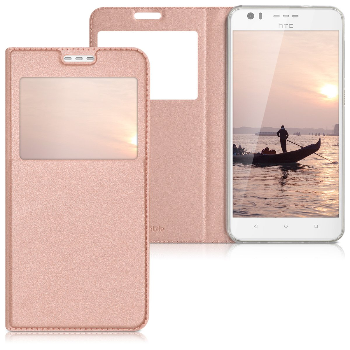 kwmobile Flip Case for HTC Desire 10 Lifestyle - PU Leather Book Style Wallet Protective Cover with Window - Rose Gold