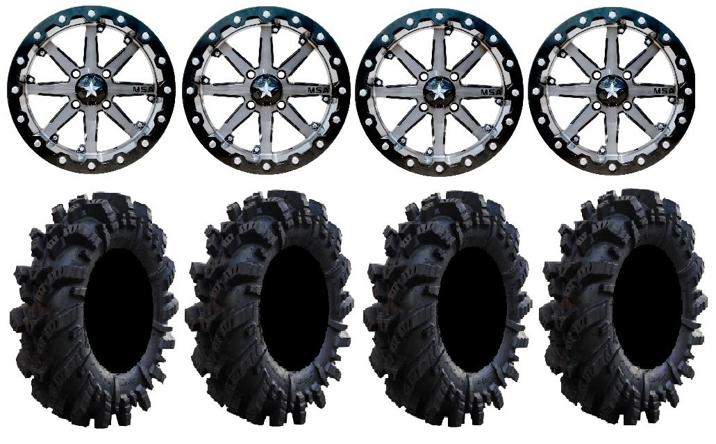 Bundle - 9 Items: MSA Lok 14'' ATV Wheels 30'' Intimidator Tires [4x137 Bolt Pattern 12mmx1.25 Lug Kit]