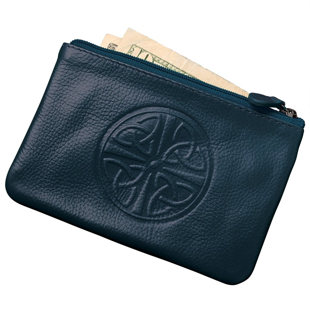 Women's Celtic Knot Coin Purse - RFID Blocking - Leather - 5'' x 3.25'' - Blue