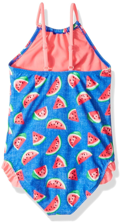Angel Beach Little Girls Denim Watermelon Print High Neck One Piece Swim