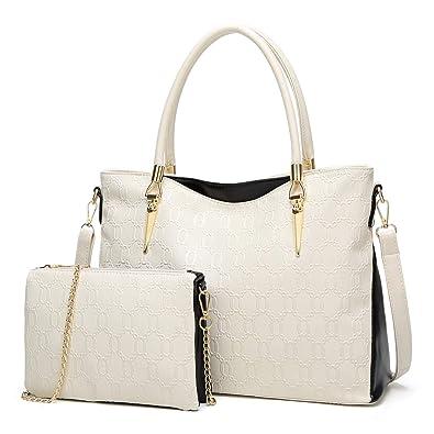 438f20330b Amazon.com  Gykaeo Luxury Handbags Women Bags Designer Tote Bag Lady PU  Leather Purses and Handbags Female Messenger Shoulder Bag Sac A Main Color  Beige  ...