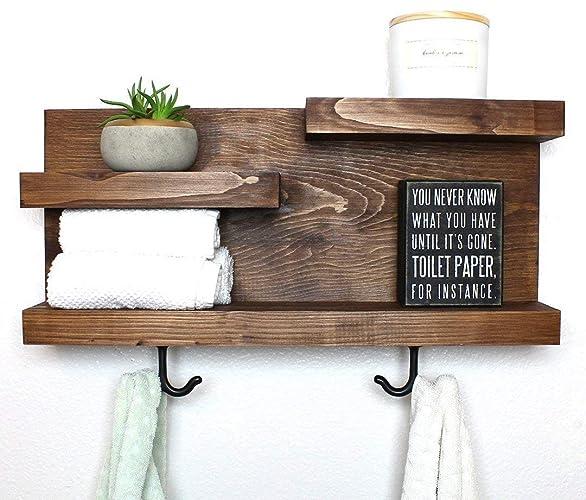 Amazon Com Modern Farmhouse Bathroom Shelf With Towel Hooks