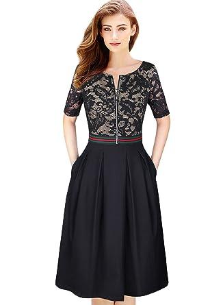 6123addc3c6f VFSHOW Womens Vintage Floral Lace Zip Up Pocket Cocktail Party A-Line Dress  152 APT