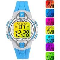 Reloj Niño Niña Digital,7 Colores 50M Impermeables Relojes de Pulsera Infantil Deportivos de Pulsera Multifuncionales…