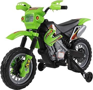 Comprar HOMCOM Moto Electrica Infantil Bateria 6V Recargable Niños 3 Años Cargador y Ruedas Apoyo Color Verde