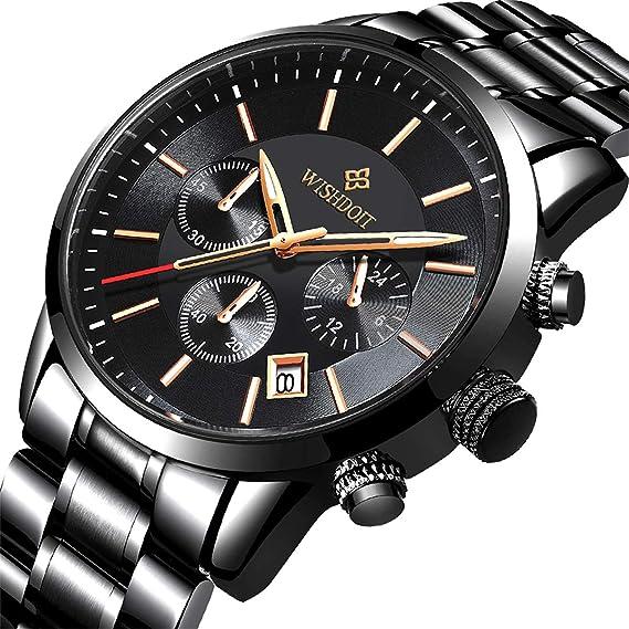 ... para Hombres Vestir Casual Deportes Impermeable Reloj de Cuarzo para Hombre con Banda Negro de Acero Inoxidable Relojes Hombre: Amazon.es: Relojes