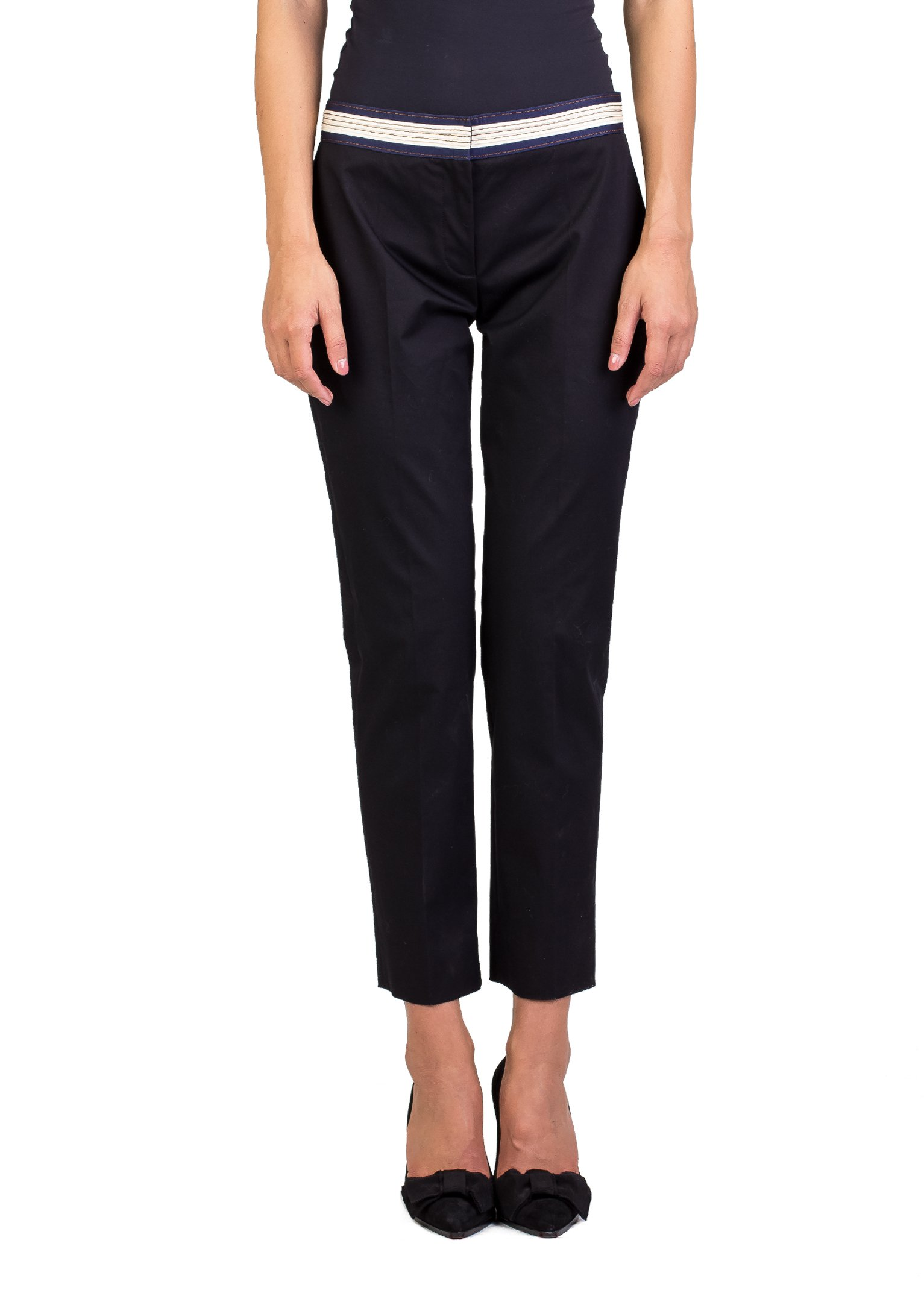 Prada Women's Cotton Chino Pants Black by Prada (Image #1)